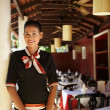 Portrait of asian waitress working in restaurant — Stock Photo #9757310