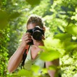 Young female photographer hiking in forest - Stock Photo