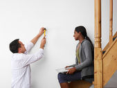 Man and woman doing diy work at home — Stock Photo