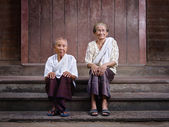 Portrait of two senior asian women looking at camera — Stock Photo