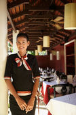 Portrait of asian waitress working in restaurant — Stock Photo