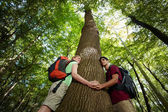 Environmental conservation: young hikers embracing large tree — Stock fotografie