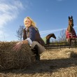 Blonde Model With Horses — Stock Photo
