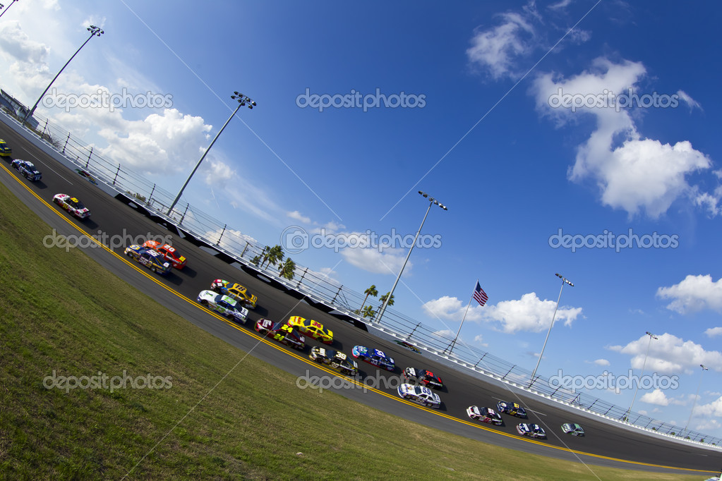 Daytona Beach, FL - Feb 23, 2012:  The NASCAR Sprint Cup teams take to the track for the Gatorade Duel 2 race at the Daytona International Speedway in Daytona Beach, FL.  Stock Photo #9380493