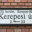 Plaque with the name of the street in Budapest — Foto Stock
