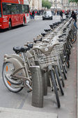 Bikes for rent in the street in Paris, France. — Stock Photo