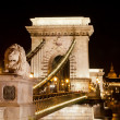 Chain Bridge over the Danube in Budapest. - Stock Photo