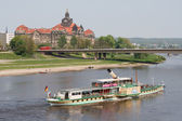 Pleasure boat on the Elbe. Dresden — Stock Photo