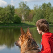 The boy with the dog near the river — Stock Photo