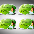 Discount stickers — Stock Vector