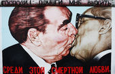Brezhnev and Honecker Berlin Wall — Stock Photo