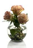 Vaas met oranje rozen — Stockfoto