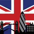 Stock Vector: London and british flag