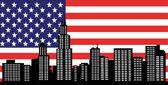 芝加哥天际线与美国国旗美国杰克 — 图库矢量图片