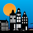 Amsterdam skyline night — Stock Vector