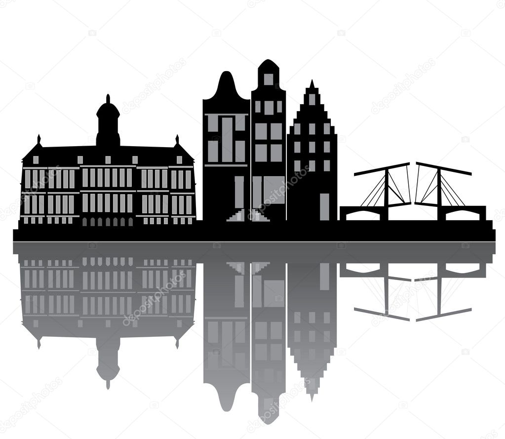 Amsterdam skyline with bridge and houses  — Vettoriali Stock  #8451733