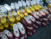Wooden shoes on the market — Stock Photo