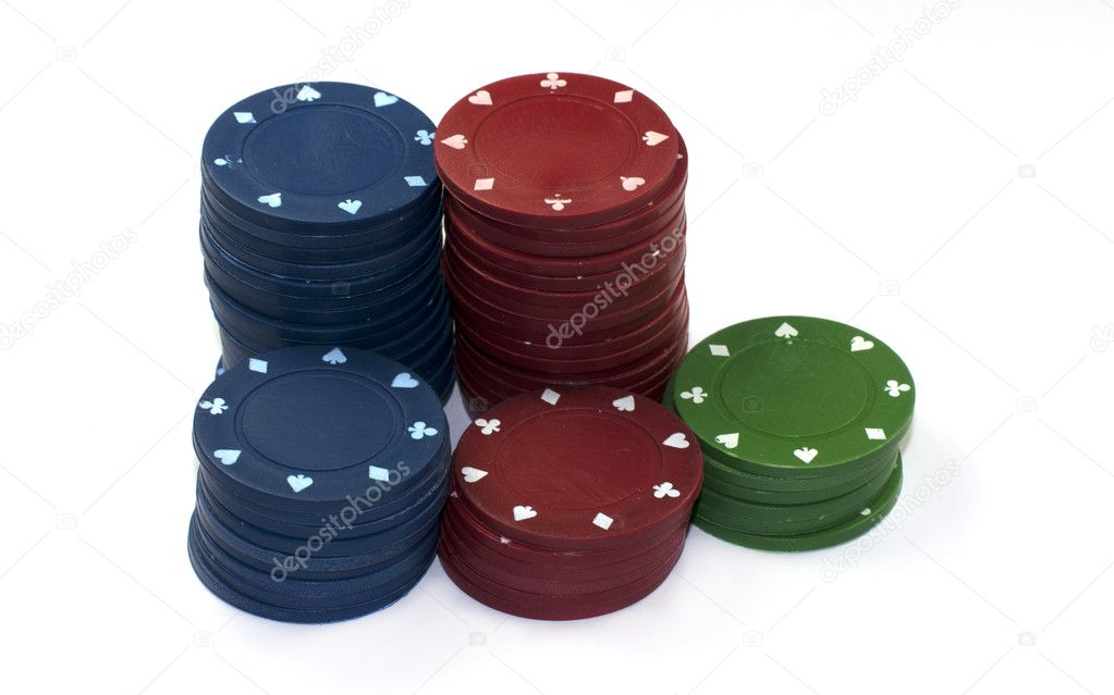 Poker fishes in red green and blue — Stock Photo #9350108
