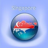 Singapore globe in the globe — Stock Vector