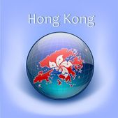Hong Kong flag in the globe — Stock Vector