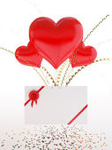 Heart shape balloons and a love note on Valentine's Day — Stock Photo