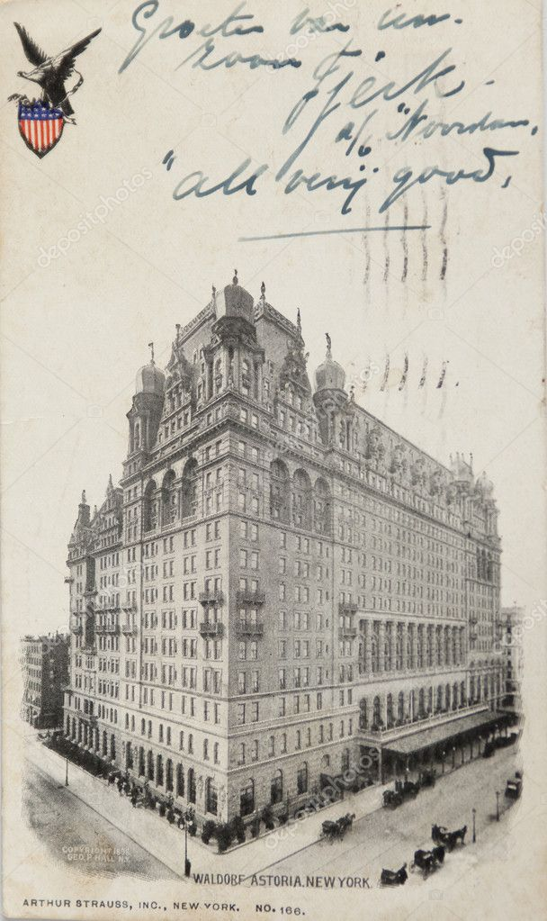 NEW YORK CITY Ð CIRCA 1909: Vintage postcard depicting the Hotel Waldorf Astoria on Times Square, built in 1904 & enlarged in 1909 with a total cost of $10,000,000, New York City, USA, circa 1909 — Stock Photo #10168660