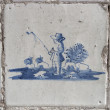 Original vintage Delft blue tile of sheperd — Stock Photo