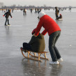 Pushing a sledge — Stock Photo