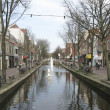 Canal in medieval Delft — Stock Photo