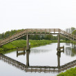 High wooden bridge - Stock Photo