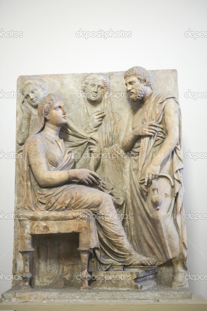 Ancient Greek Grave stele with a family group  Stock Photo #8517120