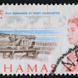 Postage stamp of the cannons at Fort Charlotte in the Bahamas — Stock Photo