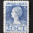 Vintage dutch postage stamp of Queen Wilhelmina in art nouveau s — Stock Photo
