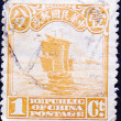 Old Chinese postage stamp with ship — Stock Photo