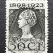 THE NETHERLANDS-CIRCA 1923:Old Dutch art nouveau 50 cents postag — Stock Photo