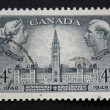 Vintage Canadian postage stamp with Victoria and George — Stock Photo
