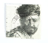 Rembrandt etch on postage stamp — Stock Photo