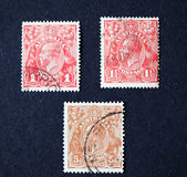AUSTRALIA-CIRCA 1916: Three postage stamps with image of British — Stock Photo