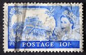 BRITAIN-CIRCA 1967: Ten shilling blue British postage stamp with — Stock Photo