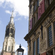 Medieval town of Delft in the Netherlands - Stock Photo