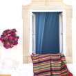 Portugese house with rug - Stockfoto