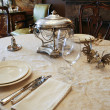 Luxury table setting with silver - Stock Photo