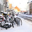 Bikes in the snow - Stock Photo