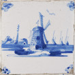 Typical vintage dutch scene on delft blue tile — Stock Photo
