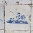 Original vintage Delft blue tiles - Stock Photo