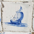 Vintage delft blue tile with Dutch sailing ship — Stock Photo #9065025