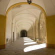 Medieval corridor in cloister — Stock Photo