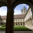 Courtyard of medieval Abbey in France — Stock Photo