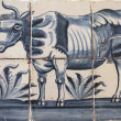 Delft blue tiles with image of cow — Stock Photo
