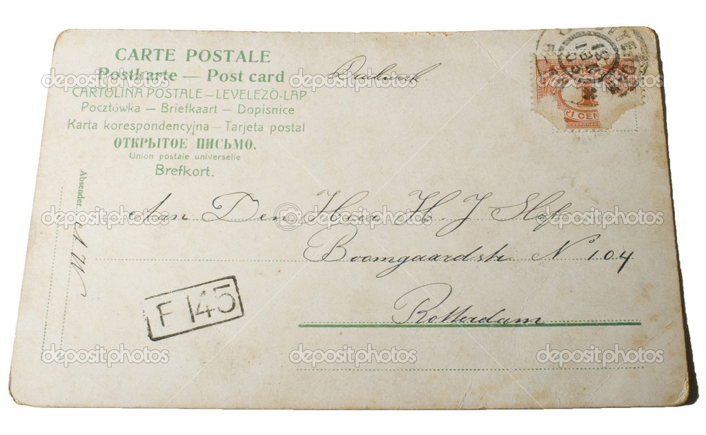 Very old postcard postmarked 1881 with handwriting and print in french, russian, spanish, german, english, polish, swedish and address in the Netherlands — Stock Photo #9064792